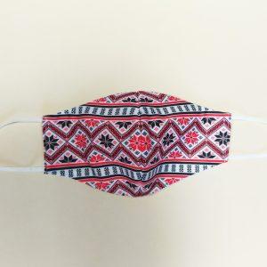 Текстилна предпазна маска с принт шевици червена